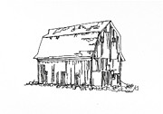 Barn Pen And Ink Drawings Prints - Barn No.18 Print by Rob Loflin
