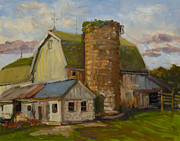 Old Barn Paintings - Barn on County Road K by Nora Sallows