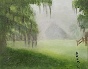 Split Rail Fence Painting Prints - Barn on Foggy Morning Print by Margaret Harmon