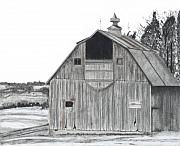 Old Barns Drawings Posters - Barn On Hillside Poster by Bryan Baumeister