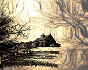 Ink Drawing Photo Prints - Barn Out Back 2 Print by Cheryl Young