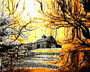 Sepia Drawings Prints - Barn Out Back Print by Cheryl Young