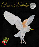 Artemis Mixed Media Framed Prints - Barn Owl Buon Natale Merry Christmas Framed Print by Eric Kempson