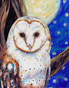 Moon Paintings - Barn Owl in Starry Night by Peggy Wilson