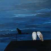 Weathervane Painting Prints - Barn Owls and Weathervane Print by Robert Harris