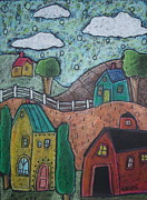 Primitive Pastels Framed Prints - Barn Scene Framed Print by Karla Gerard