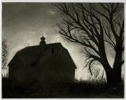 Landscape Greeting Cards Drawings Framed Prints - Barn Sillouette Framed Print by Bryan Baumeister