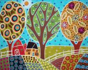 Primitive Painting Posters - Barn Trees And Garden Poster by Karla Gerard
