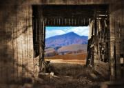 Mountain View Posters - Barn With A View Poster by Kathy Jennings