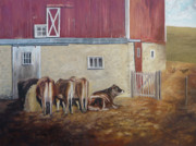 Red Barn Paintings - Barn Yard by Cara Zietz
