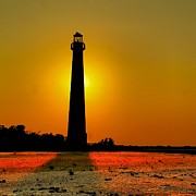 Barnegat Light Posters - Barnegat Light Aglow Poster by Nick Zelinsky