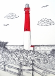 Historic Lighthouse Images - Barnegat Light Drawing by Frederic Kohli