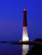 Barnegat Light Posters - Barnegat Lighthouse at Night Poster by Nick Zelinsky