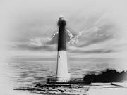 Barnegat Inlet Prints - Barnegat Lighthouse in Black and White Print by Bill Cannon