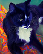 Black And White Cats Paintings - Barney by Laurie Cook