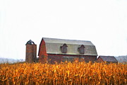 Farm Scenes Posters - Barns First Poster by Emily Stauring
