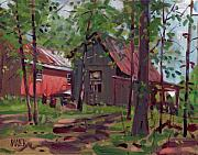 Plein Air Art - Barns in April by Donald Maier