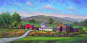 Red Barn Paintings - Barns in Etowah NC by Jeff Pittman