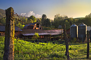Tennessee Farm Prints - Barns in the Morning Print by Debra and Dave Vanderlaan