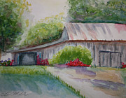 Wooden Building Painting Posters - Barns last Days Poster by Terri Maddin-Miller