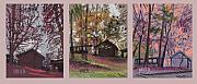 Barns Drawings Prints - Barns Triptych 3 Print by Donald Maier