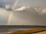 Storm Clouds Cape Cod Framed Prints - Barnstable Harbor Rainbow Framed Print by Charles Harden