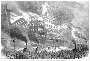 Barnums Museum Fire, 1865 Print by Granger
