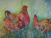 Watercolor Roosters Framed Prints - Barnyard Boss Framed Print by Marilyn  Clement