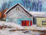 Old Barn Drawing Pastels Posters - Barnyard in Winter Poster by John  Williams