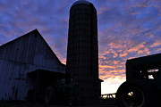 Barn And Silo Prints - Barnyard Sunrise III Print by JD Grimes
