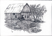 Barn Pen And Ink Posters - Barnyard Poster by Theresa Causey
