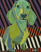 Dachshund Prints - Baron in Living Color Print by David  Hearn