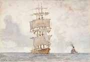 Tuke Metal Prints - Barque and Tug Metal Print by Henry Scott Tuke