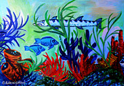 Scuba Paintings - Barracuda Reef by Deborah Willard