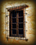 Art Glass Picture Prints - Barred window Print by Perry Webster