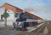 Portugal Art Paintings - Barreiro Train Station - Estacao de Comboio do Barreiro by Carlos De Vasconcelos Tavares