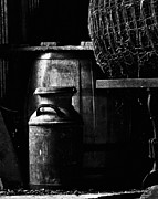 Old Rustic Barn And Barrel Photos - Barrel in the Barn by Jim Finch