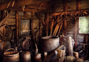 Carpentry Prints - Barrel Maker - In the back of the barrel makers shop Print by Mike Savad