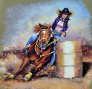 Cowboy Pastels Posters - Barrel Rider Poster by Susan Jenkins