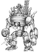 Steampunk Drawings - Barrelman - Original Concept by Matthew Keith