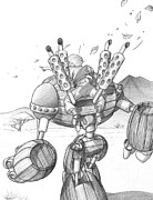 Steampunk Drawings - Barrelman - Spirit of Discovery by Matthew Keith