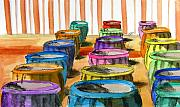 Pots Drawings Prints - Barrels of Color Print by V E Delnore