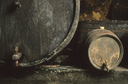 Wineries Photo Posters - Barrels of wine in a wine cellar. France Poster by Bernard Jaubert