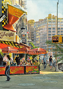 Warm Colors Paintings - Barrow and Bleecker by Tom Hedderich
