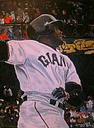 Home Run Paintings - Barry Bonds World Record Breaking Home run by Ruben Barbosa