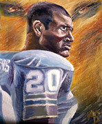 Detroit Lions Paintings - Barry Sanders by Adam Barone