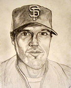 Pitcher Drawings Framed Prints - Barry Zito Giants Starting Pitcher Framed Print by Donald William