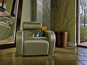 Bart Simpson Framed Prints - Bart on Chair w Mirror Framed Print by Tony Chimento