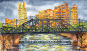 City Of Bridges Painting Posters - Bartlesville Poster by Ragon Steele