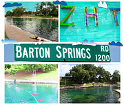 Photomontage Framed Prints - Barton Springs Framed Print by Andrew Nourse